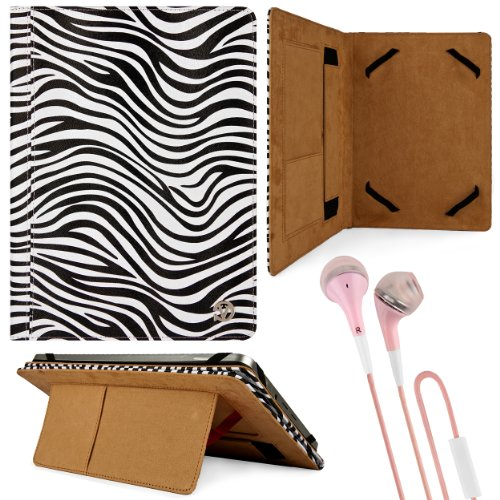 Black & White Zebra Design Vg Faux Leather Standing Portfolio Case Cover For Kocaso M1070 / M1062 / Nb1016 / M1052S / M1061 / M1050 / M1050S 10.1 Inch Androi Tablets + Pink Handsfree Hifi Noise Isolating Stereo Headphones With Windscreen Microphone And So front-171673