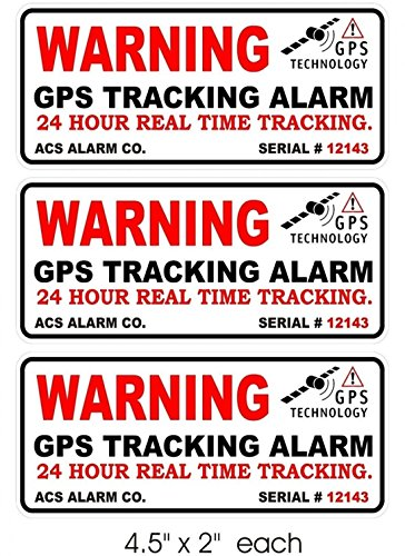 3 Pcs Preeminent Popular Outside Warning GPS Tracking Alarm Sticker Signs Truck RV Anti-Robber Auto Car Size 4.5
