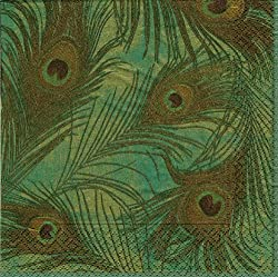 Entertaining with Caspari Peacock Paper Cocktail Napkins, Teal, Pack of 20