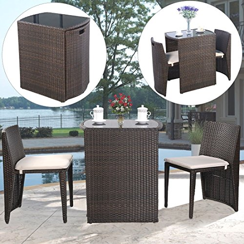 3 PCS Cushioned Outdoor Wicker Patio Set Garden Lawn Sofa Furniture Seat Brown (Ohio Table Pad Company compare prices)