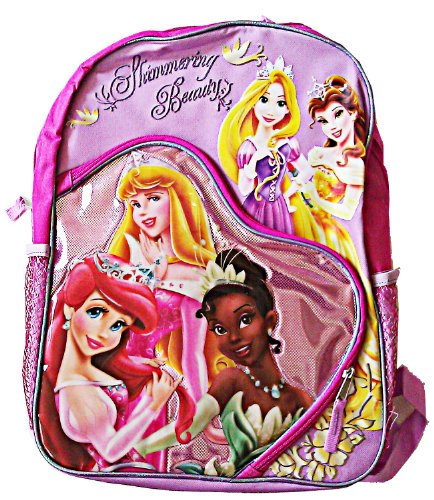 Disney Princesses Shimmering Beauty Full Size 16 inch Kids Backpack Purple and Pink - 1