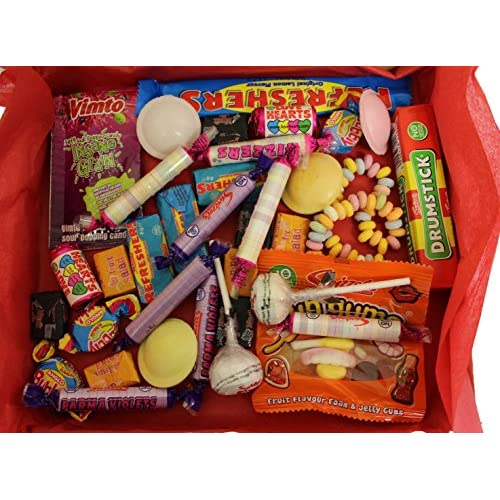 Retro Sweet Hamper Filled With Favourite Selection of British Retro Sweets Drumstick, Fizzers, Love Hearts, Refreshers...