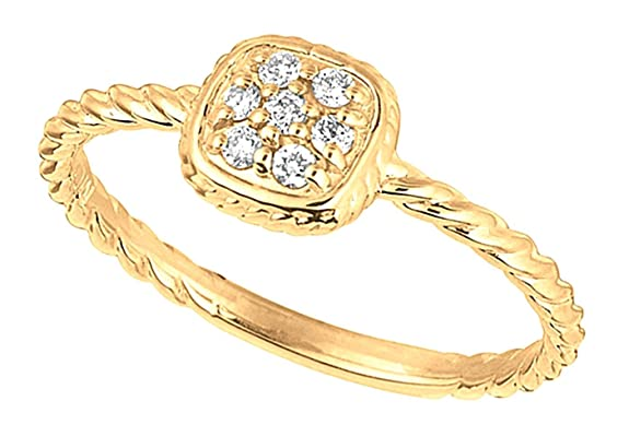 Pave setting 0.11 carat round diamond wedding anniversary ring gold 14K jewelry