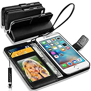 Apple iPhone 7 Plus Rich Leather Stand Wallet Flip Case Cover Book Pouch / Quality Slip Pouch / Soft Phone Bag (Specially Manufactured - Premium Quality) Antique Leather Case With Mini Touch Stylus Pen Black