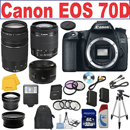 Canon Eos 70D Cmos Digital Slr Camera W/ Canon Ef 75-300Mm F/4-5.6 Iii Telephoto Zoom Lens + Canon 18-55 Is Stm Lens + Canon Ef 50Mm F/1.8 Ii Slr Lens Lp-E6 Replacement Lithium Ion Battery W/ External Rapid Charger 32Gb Sdhc Class 10 Memory Card 58Mm Wide