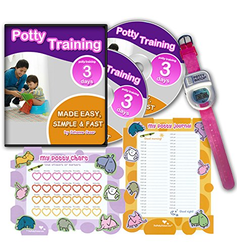 Potty Training In 3 Days - Ultimate Potty Training for Girls. Complete Kit Includes Potty Training In 3 Days Audio Guide, Laminated Potty Training Charts & Pink Potty Time Watch (Pink) (Potty Training Girls Chart compare prices)
