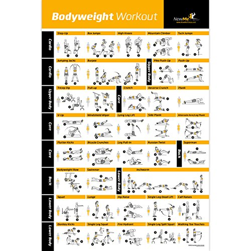 Bodyweight Exercise Poster - Total Body Workout - Personal Trainer Fitness Program - Home Gym Poster - Tones Core, Abs, Legs, Gluts & Upper Body - Improves Training Routine - 20