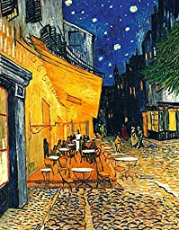 27W x 38H Cafe terrace in the evening by Vincent Van Gogh - Stretched Canvas