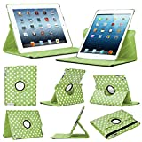 IChoose® Case for Apple iPad Mini / Mini 2 Retina Rotating 360 Degree PU Leather Smart Cover - Free Screen Protector + Stylus Pen - POLKA DOT GREEN/WHITE