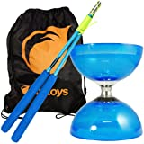 Juggle Dream Cyclone Quartz 2 Triple Bearing Diabolo & Superglass Diablo Sticks Set with Firetoys Bag (Blue Diabolo/Blue Sticks (Color: Blue Diabolo/Blue Sticks)