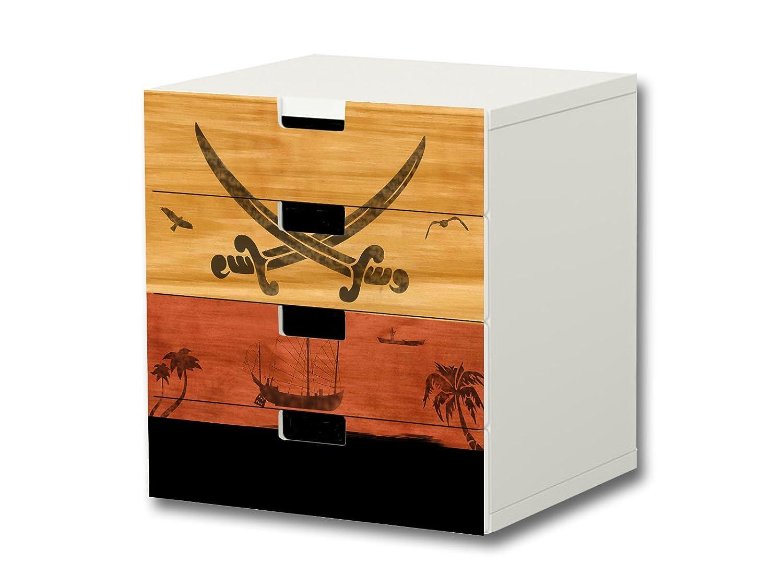 """""""Pirate Island"""" Möbelsticker / Aufkleber – S4K11 – passend für die Kinderzimmer Kommode mit 4 Fächern / Schubladen STUVA von IKEA – Bestehend aus 4 passgenauen Möbelfolien (Möbel nicht inklusive) kaufen"""