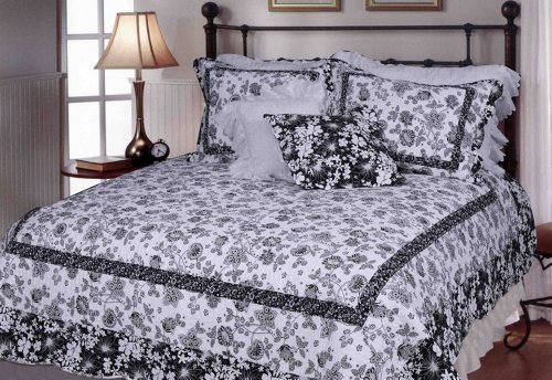 [Elegant & Simple Style] 100% Cotton 2PC Floral Vermicelli-Quilted Patchwork Quilt Set (Twin Size)