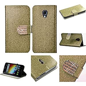 HR Wireless Shiny PU Leather Bling Flip Wallet Credit Card Case for LG LS740 Volt - Retail Packaging - Gold