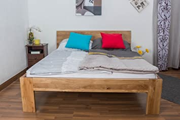 Double Bed Wooden Nature 86, solid wild oak, oiled - 160 x 200 cm