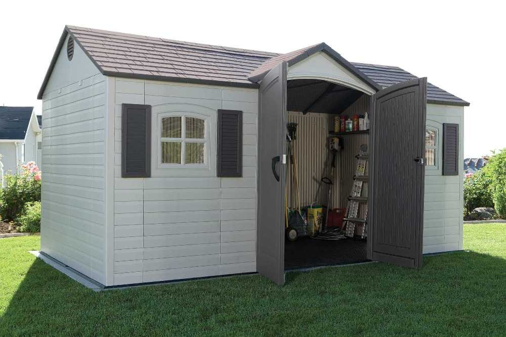 Lifetime 6446 Outdoor Storage Shed with Shutters, Windows, and Skylights, 8 by 15 Feet