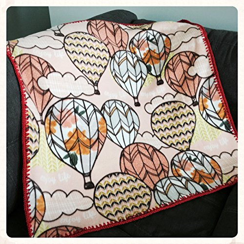 Hot Air Balloon Crochet Trimmed Fleece Baby Blanket by Julian Bean