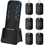 (Upgraded) Item Finder Loud Alarm Key Finder Locator with Replaceable Battery, 130 Feet Wireless Small Device Tracker for TV Remote,Car Key,Luggage,Wallet,Phone (Black) (Color: Black)