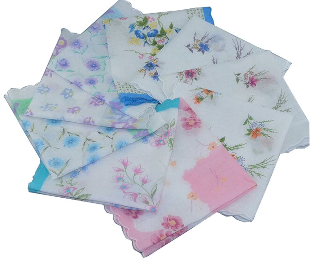 Uniquezone Vintage Floral Handkerchief Wendding Party Fabric Hanky 0