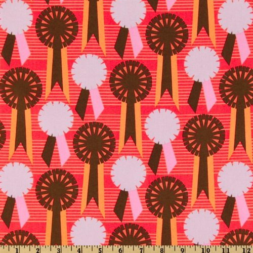 .com: 44'' Wide Red Letter Day Prize Ribbon Coral Fabric By The Yard