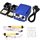 WoodBurningKit, English Panel 60W PyographyWoodBurningTool Kit Used As Wood Carving Engraver With 2 WoodBurning Stencil Pen 20pcs Pyrography Wire Tips For Wood Leather and Gourd (Blue Dual Pen) (Tamaño: Blue Dual Pen)