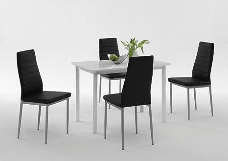 Dreams4Home Tischgruppe 'Belinda II', 4x Stuhl, Esszimmertisch, Kuchentisch, Esszimmer, Tisch, Weiß, schwarz, Hochglanz