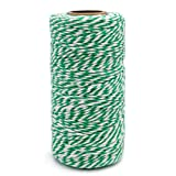 100 M/328 Feet Durable Cotton Baker's Twine String,Heavy Duty Packing Bakers Twine for Gardening Applications (Green and White) (Color: Green White)