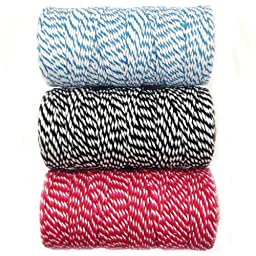 Wrapables 12-Ply Cotton Baker\'s Twine for Gift Wrapping and Arts and Crafts, 110-Yard Spool, Blue/Black/Red and Hot Pink, Set of 3