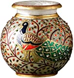 Aapno Rajasthan Kundan Work and Gold Hand Painted Peacock Marble Pot (15.24 cm x 12.7 cm)