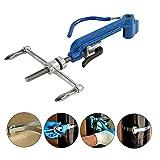 Banding Tool Stainless Steel Cable Ties Tool Screw Type Manual Tensioner Work with 4.6-20mm Steel Belt