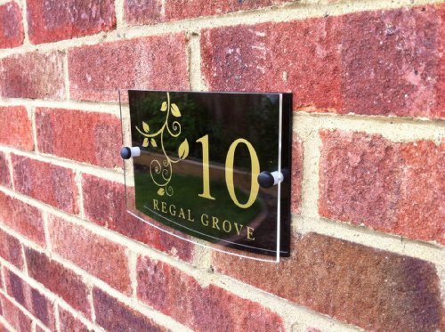 House Number Sign/Plaque Black Acrylic