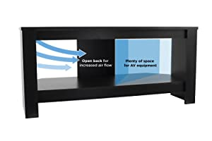 Mount-It! Wood TV Stand and Storage Console for 32, 35, 37 Inch Flat Screen TVs, 35 Lbs Capacity, Black (Color: Black)