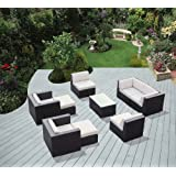 ohana collection PN0910 Genuine Ohana Outdoor Patio Wicker Furniture 9-Piece All Weather Gorgeous Couch Set with Free Patio Cover