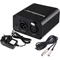 InnoGear Single Channel 48V Phantom Power Supply with Adapter and Audio XLR Cable (Black)