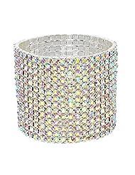 Bling 14 row Aurora Borealis diamante elasticated bracelet