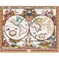 Janlynn Cross Stitch Kit, 15-Inch by 18-Inch, Olde World Map