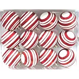 Queens Of Christmas WL-ORN-12PK-LN-RE 12 Pack Ball Ornament With Line Design, Red/White
