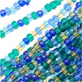 Czech Seed Beads Mix Lot 11/0 Lagoon Blue Aquas 1/2 Hank