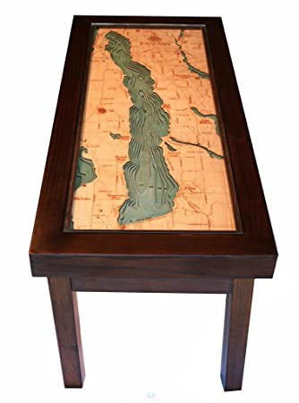"Torch Lake 3-D Wood Nautical Chart Coffee Table ""34 X 16"""