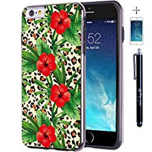 buy Iphone 6 6S Case, True Color® Tropical Hibiscus Flowers On Leopard Slim Hybrid Hard Back + Soft Tpu Bumper Protective Durable [True Protect Series] +Free Stylus & Screen Protector - Black