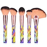 MSQ Makeup Brushes Set 5Pcs Powder Brush Soft Synthetic Hair & Wiredrawing Ferrule Cosmetics Blending Blush Face Brushes Oil Paintings Style (Color: 5PCS Oil Painting)