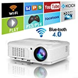4400 Lumens Wifi Smart Video Projectors Bluetooth Wireless with HDMI USB Speakers WXGA HD LED LCD Home Cinema Theater Projector 1080P for iPhone iPad Android Phone Laptop TV DVD Movie Outdoor (Color: 4400lumen WXGA Bluetooth Wifi Projector)