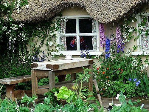 Coffee Break At The Cottage Garden - Art Print On Canvas (31X24 Inches, Unframed)