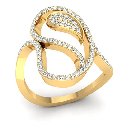 18K Yellow Gold 0.4cttw Round-Cut-Diamond (I-J Color, SI Clarity) Diamond Ring
