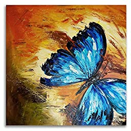Neron Art - Hand painted Animal Oil Painting on Rolled Canvas for Living Room Wall Decor - Butterfly Blue 48X48 inch