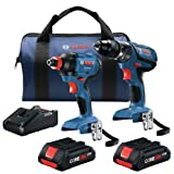 Bosch GXL18V-239B25-RT 18V 2-Tool 1/2 in. Hammer Drill Driver and 2-in-1 Impact Driver Combo Kit with (2) CORE18V 4.0 Ah Lithium-Ion Compact Batteries (Renewed)