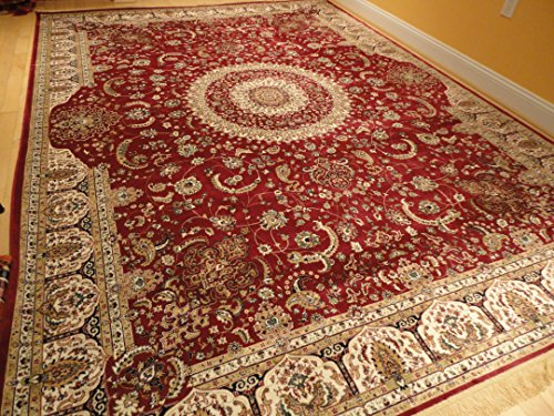 Stunning Silk Persian Area Rugs Traditional Large Rugs Red 8x12 Silk Rugs Persian Tabriz High End Living Room Rug (Large 8'x12')
