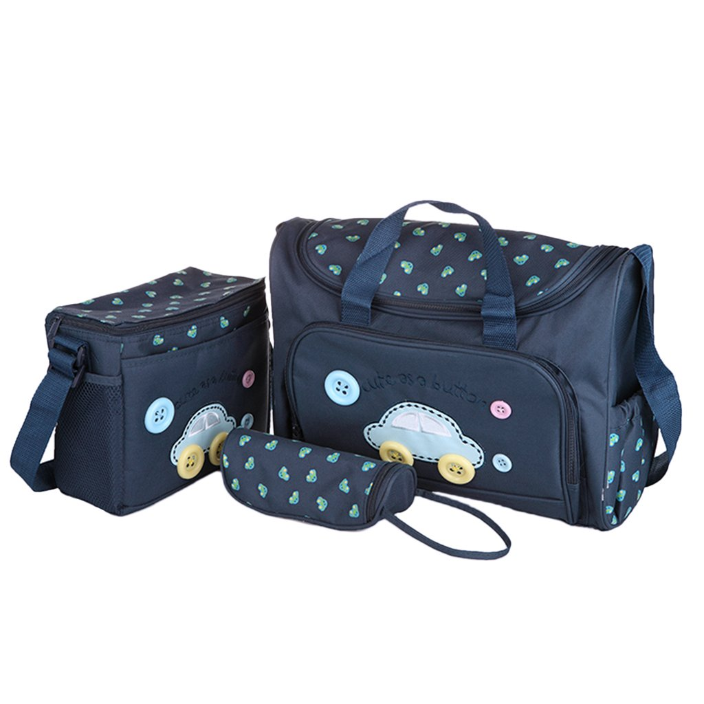 designer nappy bags 12ia  Magideal 4Pcs Mummy Tote Baby Nappie Diaper Changing Bags Sets Dark Blue