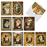 M1746XSsl Picture-Perfect Santas: 10 Assorted Christmas Note Cards Feature Portraits of St. Nick, w/White Envelopes.