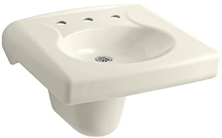 "KOHLER K-1999-8N-47 Brenham Wall-Mount Bathroom Sink and Shroud with 8"" Centerset, Less Soap Dispenser Hole and Overflow, Almond"