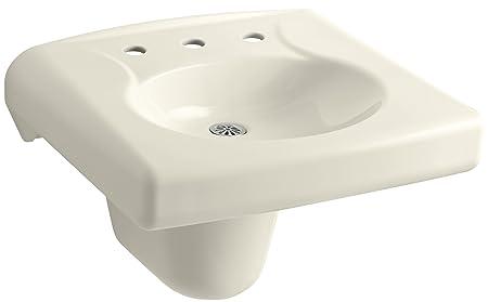 "KOHLER K-1999-8N-47 Brenham Wall-Mount Bathroom Sink and Shroud with 8"" Centerset, Less Soap Dispenser Hole and Overflow, Almond"